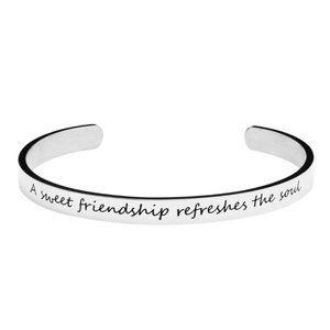 Personalized Engraved Mantra Cuff Bangle